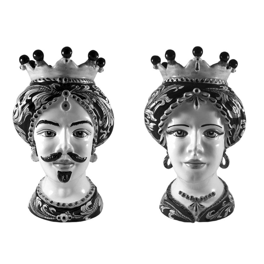 Coppia di Teste di Moro Ornato Bianco e Nero H 35 cm