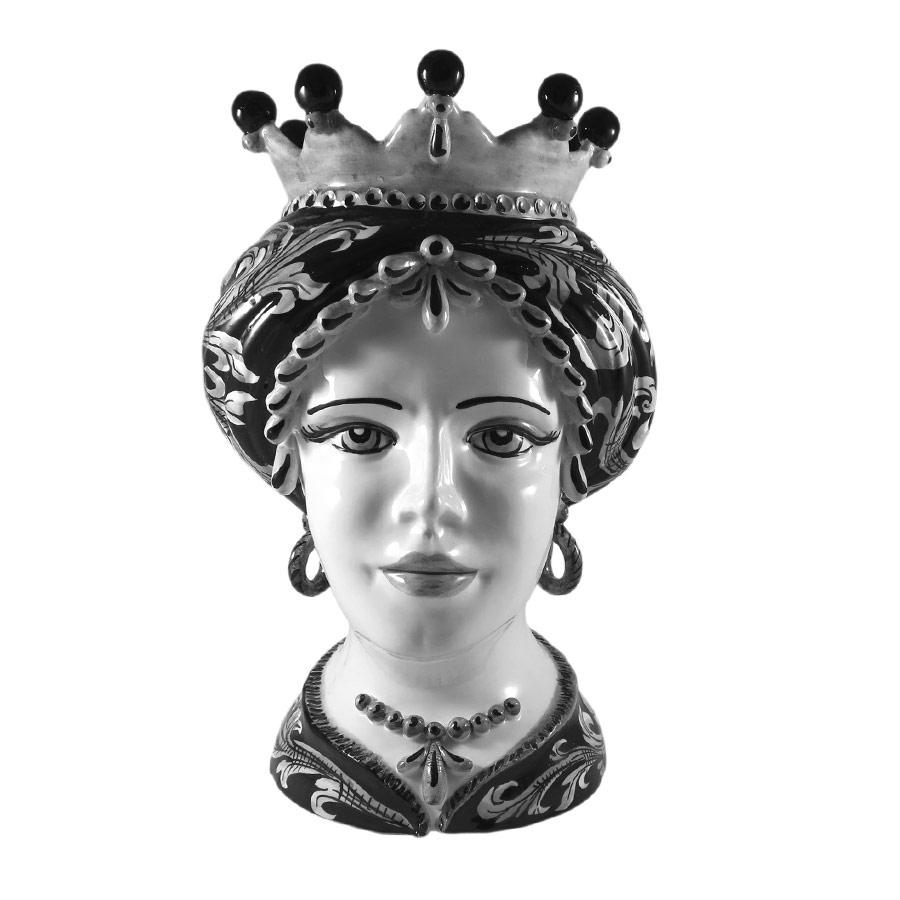 Testa di Moro Donna Ornato Bianco e Nero H 35 cm